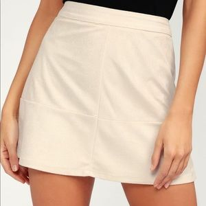 Beige Suede Mini Skirt - Lulus